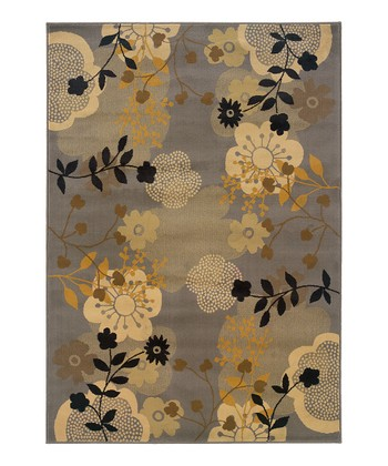 Gray Flower Blanche Rug