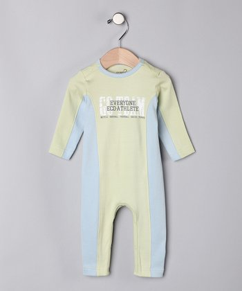 Vintage Green & Blue 'Go Team' Organic Playsuit - Infant