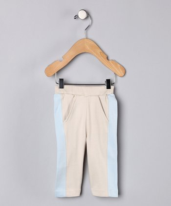 Khaki & Baby Blue Organic Pants - Infant