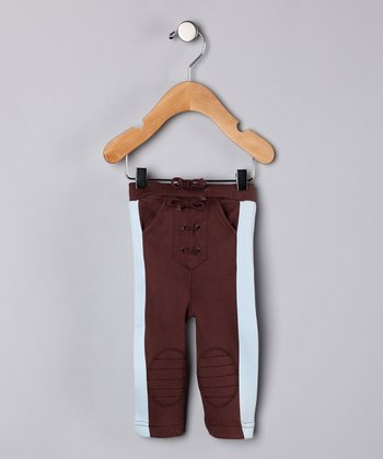 Brown & Baby Blue Organic Pants - Infant