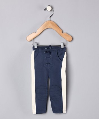 Navy & White Organic Pants - Infant