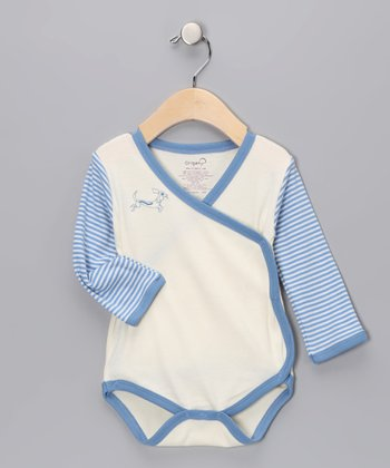 Blue Raglan Organic Wrap Bodysuit - Infant