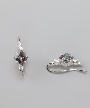 Cubic Zirconia & Mystic Topaz Ear Pin Earrings
