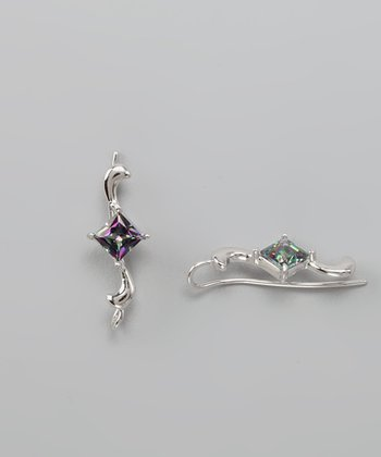Silver Mystic Topaz Ear Pin Earrings