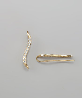 Gold Cubic Zirconia Classic Sequence Ear Pin Earrings