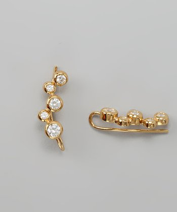 Gold Cubic Zirconia Bubble Ear Pin Earrings