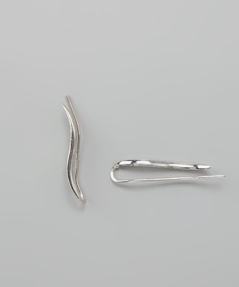 Silver Polished Classic Ear Pin Earrings