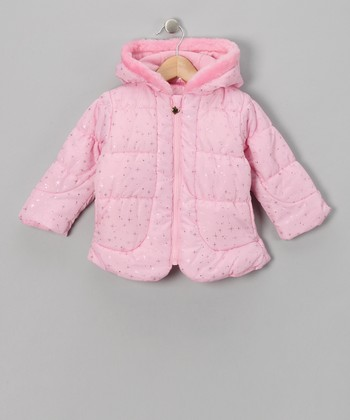 Pink Metallic Star Quilted Jacket - Toddler
