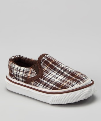 Brown Plaid Slip-On Shoe