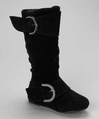 Black Faux Suede Destiny Boot