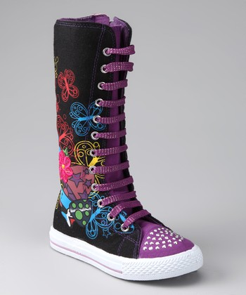 Black & Purple Princess Extra Hi-Top Sneaker