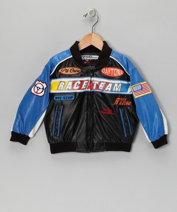 Blue & Black Racing Jacket - Toddler & Boys
