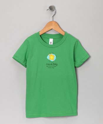 Green 'Outside Baby' Tee - Kids