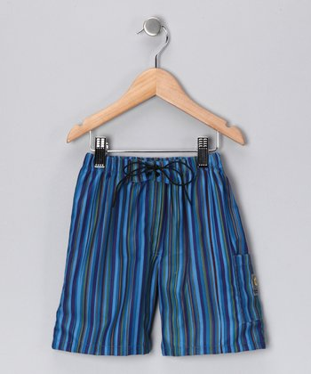 Blue Stripe Quick-Dry Swim Trunks - Boys