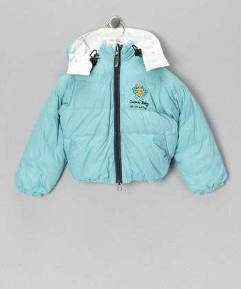 Turquoise & White Reversible Down Jacket - Infant