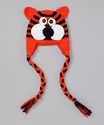 Orange Tiger Earflap Beanie