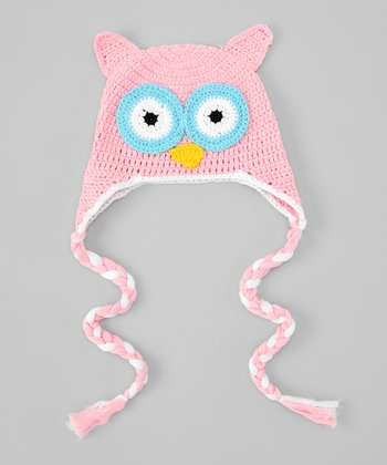 Light Pink & Blue Eye Owl Earflap Beanie