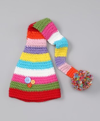 Rainbow Stripe Button Pom-Pom Beanie