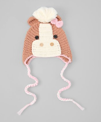 White & Brown Horse Earflap Beanie