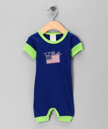 Royal 'USA' Flag Romper - Infant