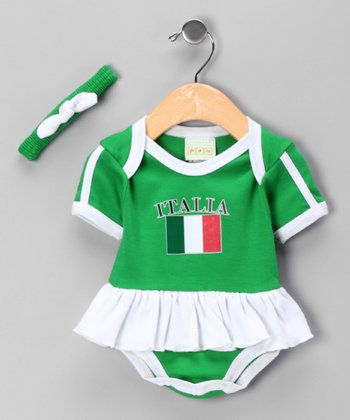 Green 'Italia' Flag Skirted Bodysuit & Headband - Infant