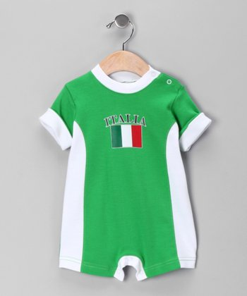 Green & White 'Italia' Flag Romper - Infant