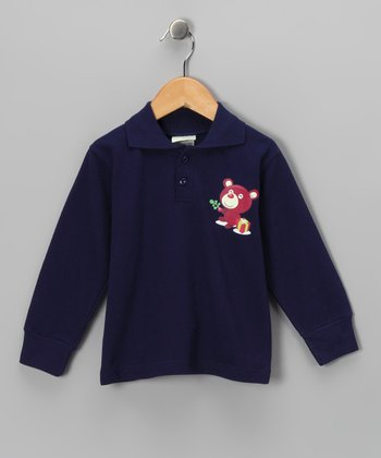 Navy Bear Polo - Toddler & Kids