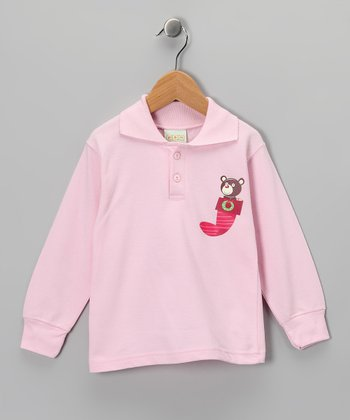 Pink Stocking Bear Polo - Toddler & Kids