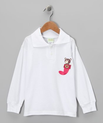 White Stocking Bear Polo - Toddler & Kids