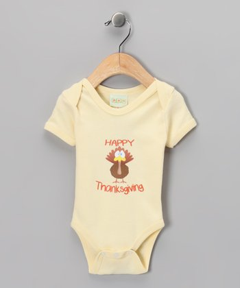 Yellow 'Happy Thanksgiving' Bodysuit' - Infant