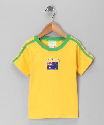 Gold 'Australia' Flag Tee - Toddler & Kids