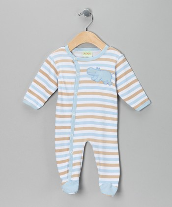 Blue Stripe Hippo Footie - Infant