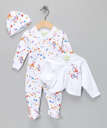 White Floral Footie Set - Infant