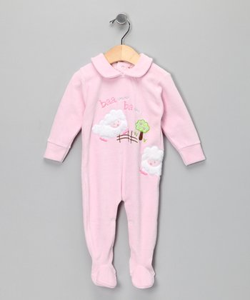 Pink Sheep Velour Footie - Infant