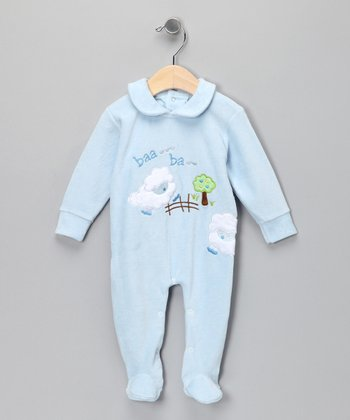 Blue Sheep Velour Footie - Infant