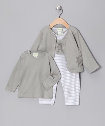 Gray Stripe Playsuit Set - Infant