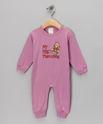 Mauve 'My First Thanksgiving' Playsuit - Infant