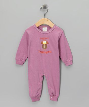 Mauve 'Happy Thanksgiving' Playsuit - Infant