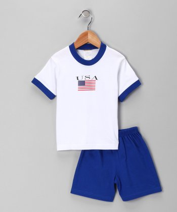 White & Royal 'USA' Flag Tee & Shorts - Infant, Toddler & Kids
