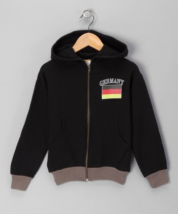 Black 'Germany' Zip-Up Hoodie - Kids