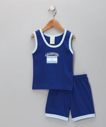 Royal 'Argentina' Contrast Tank & Shorts - Infant, Toddler & Kids