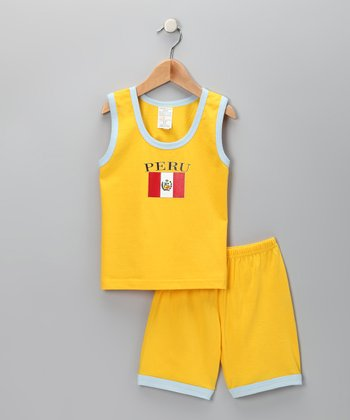 Gold 'Peru' Contrast Tank & Shorts - Infant, Toddler & Kids