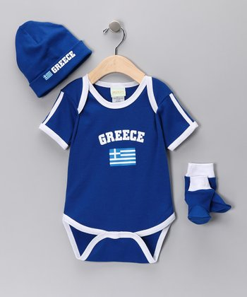 Royal 'Greece' Flag Bodysuit Set - Infant