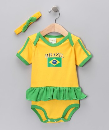 Gold & Green 'Brazil' Flag Skirted Bodysuit & Headband - Infant