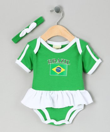 Green 'Brazil' Flag Skirted Bodysuit & Headband - Infant