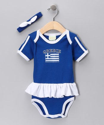 Royal 'Greece' Flag Skirted Bodysuit & Headband - Infant