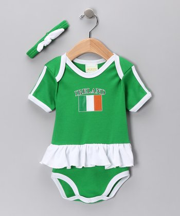Green 'Ireland' Flag Skirted Bodysuit & Headband - Infant