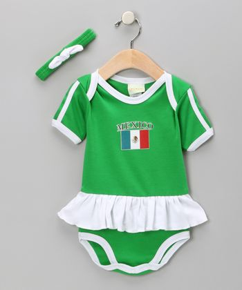 Green 'Mexico' Flag Skirted Bodysuit & Headband - Infant
