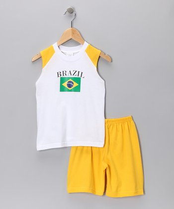 Gold 'Brazil' Tank & Shorts - Infant, Toddler & Kids