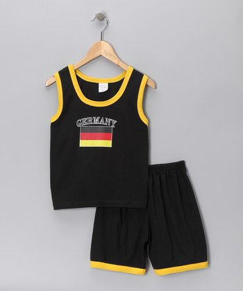 Black 'Germany' Contrast Tank & Shorts - Infant, Toddler & Kids